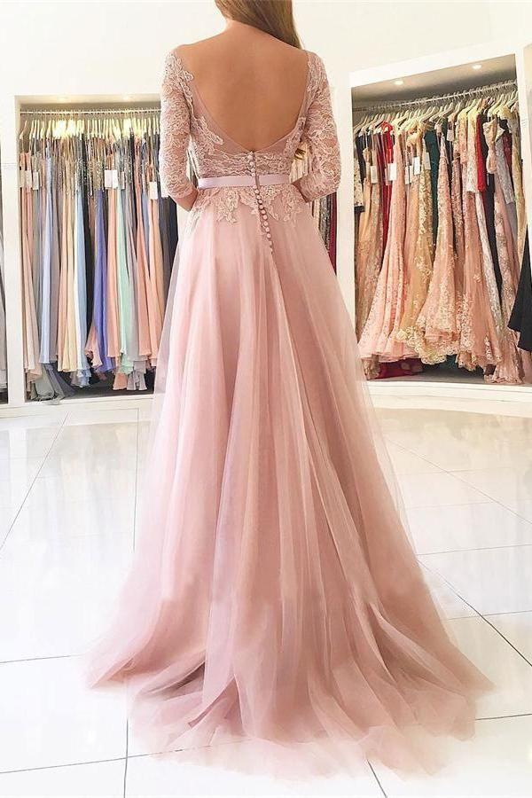 Open Back Front Split Long Sleeves Lace Tulle Pink Elegant Beauty ...