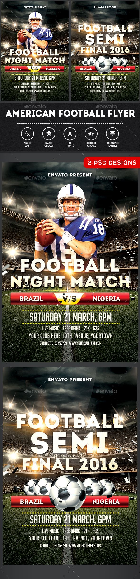 American Football Flyer Template American Football Flyer Template