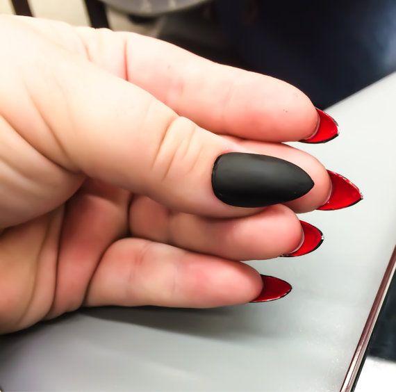 Matte Fake Nail Set - Red False Nails - Black Acrylic Nails ...