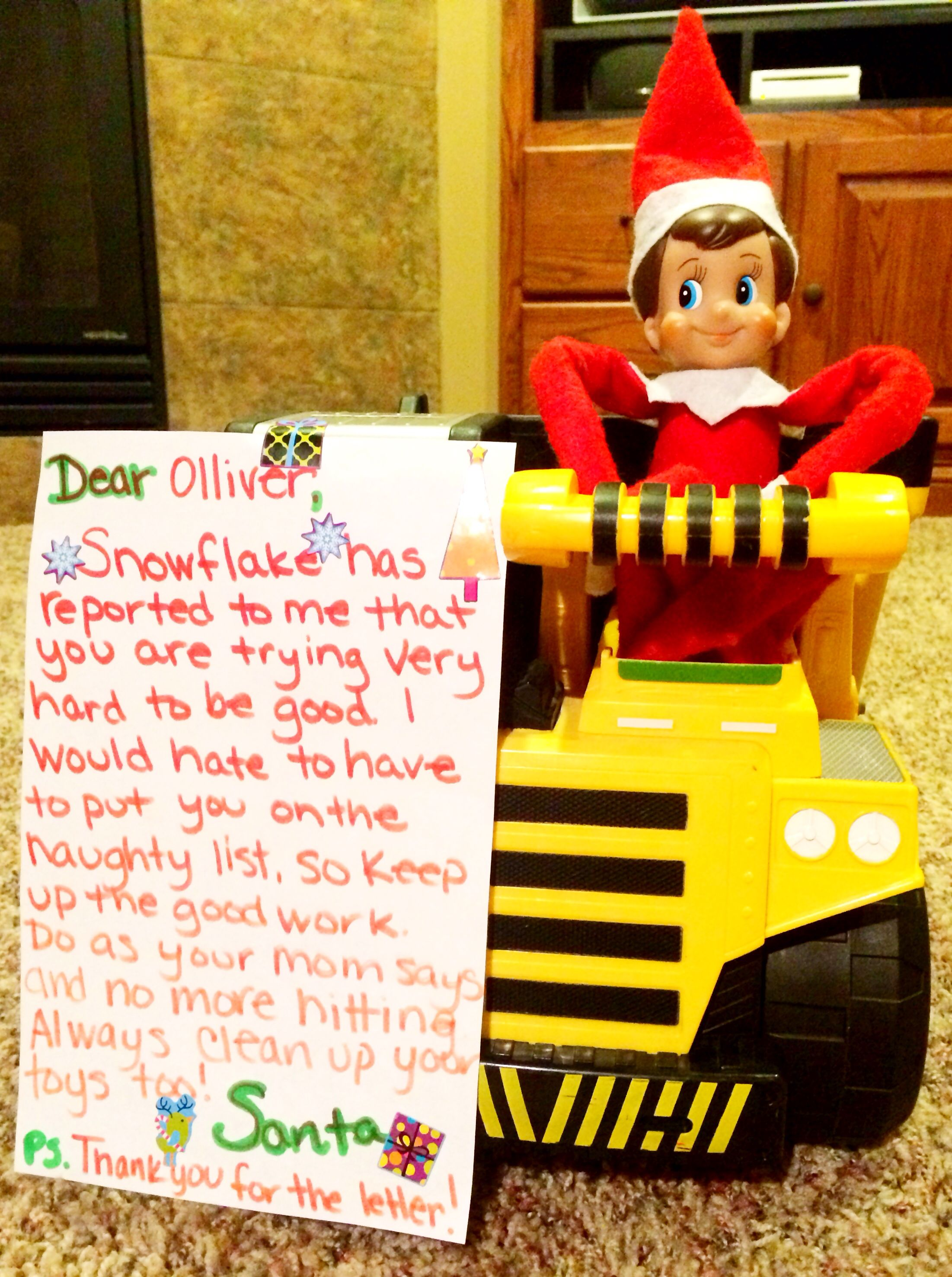 Elf on the Shelf letter from Santa. Quick idea to help