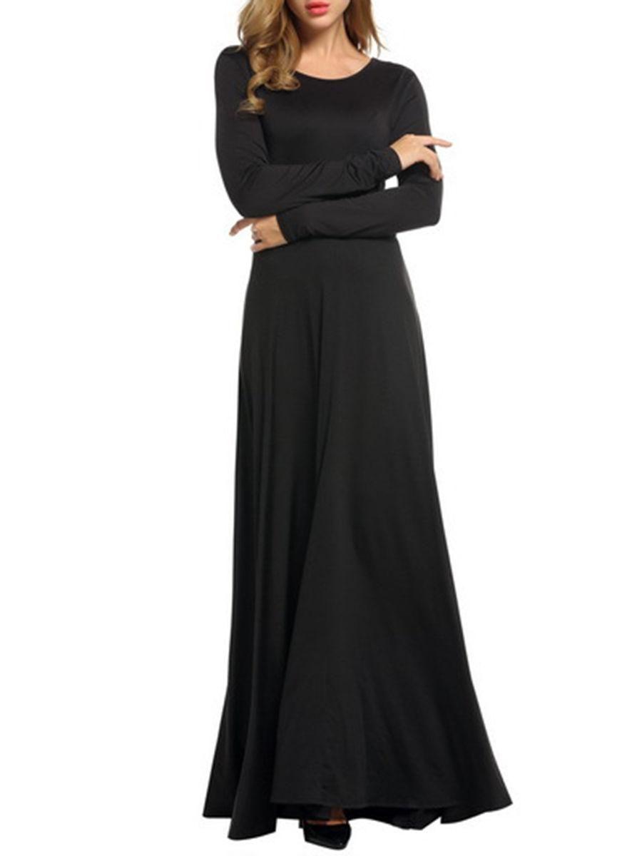Fashionmia fashionmia round neck plain long sleeve maxi dress