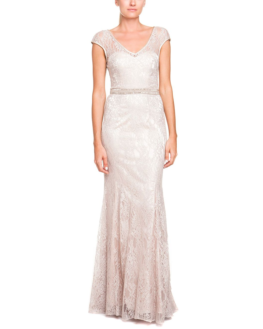 Spotted this Theia Champagne Lace Gown on Rue La La. Shop (quickly!).
