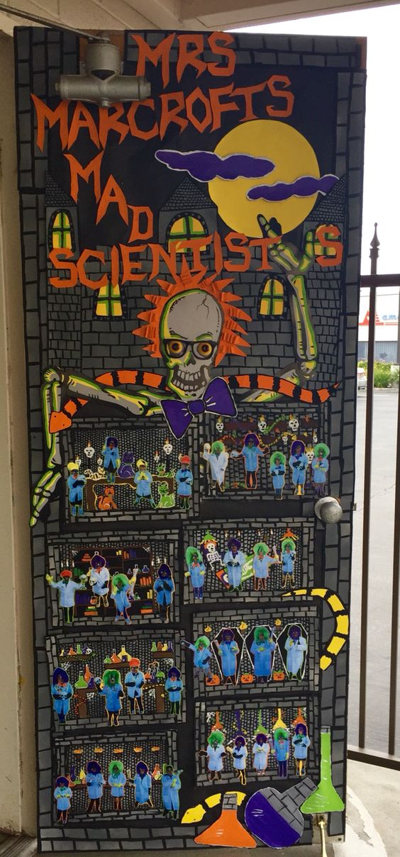 Adorable Halloween Classroom Doors with a Science Twist