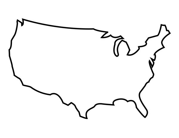 Printable United States Outline ArtCraft Stenciled LVE