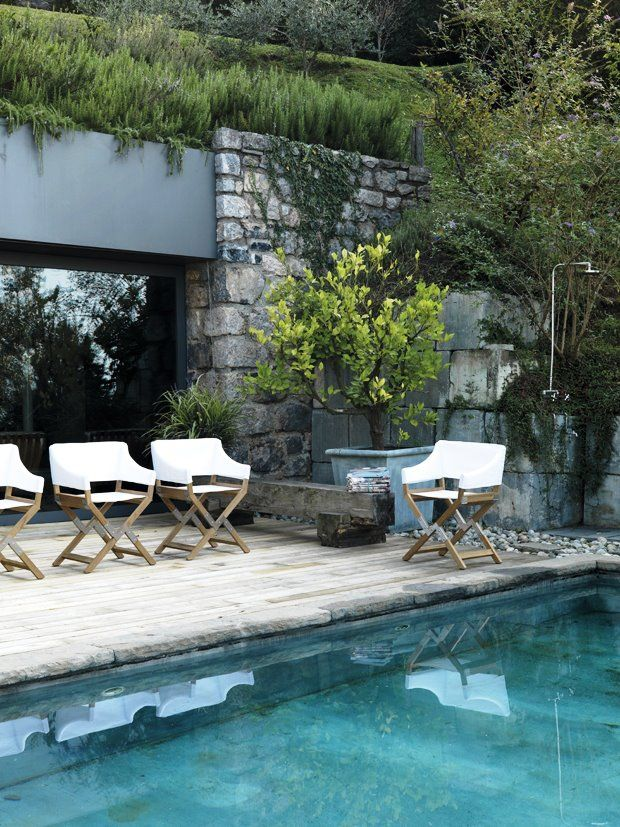 Chairs- yes please Amazeballs. the stone, the garden, the water