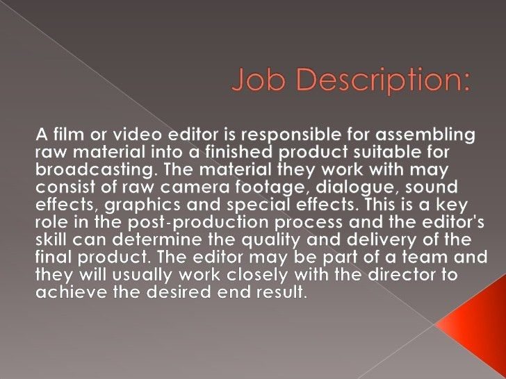 Film Editor Job Description Editors Job Sampleresume Freeresume