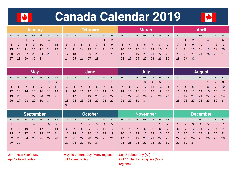 Canadian Calendar 2019 Printable Canada 2019 Holidays Calendar #2019Calendar