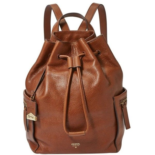 4ea32e633cf8 Fossil  Vickery - Large  Drawstring Leather Backpack ( 228) ❤ liked on  Polyvore featuring bags