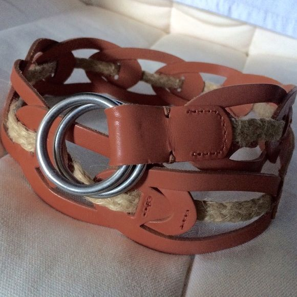 Anthropologie Red Leather Belt Size S Anthro genuine leather and jute rope belt. It says size S; the actual length is 97 cm plus buckle. Unworn. Anthropologie Accessories Belts