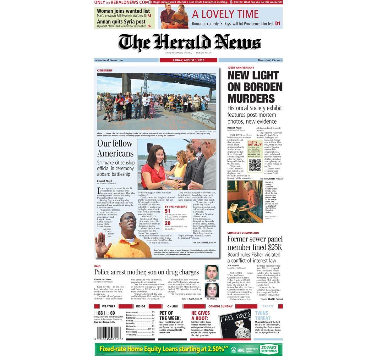 FallRiver HeraldNews FrontPage for Friday, Aug. 3, 2012