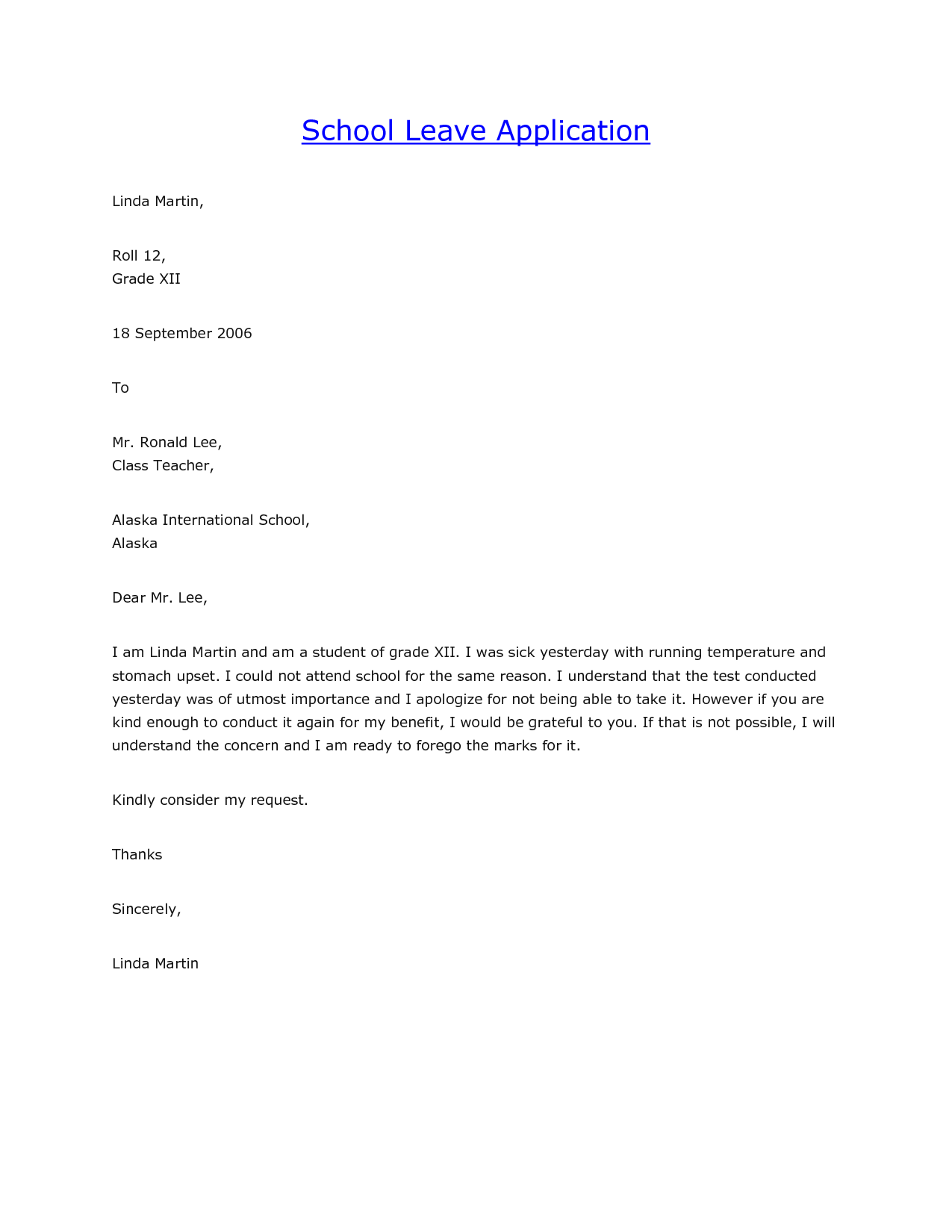 leave application letter related keywords and suggestions format – Sample Application for Leave from School