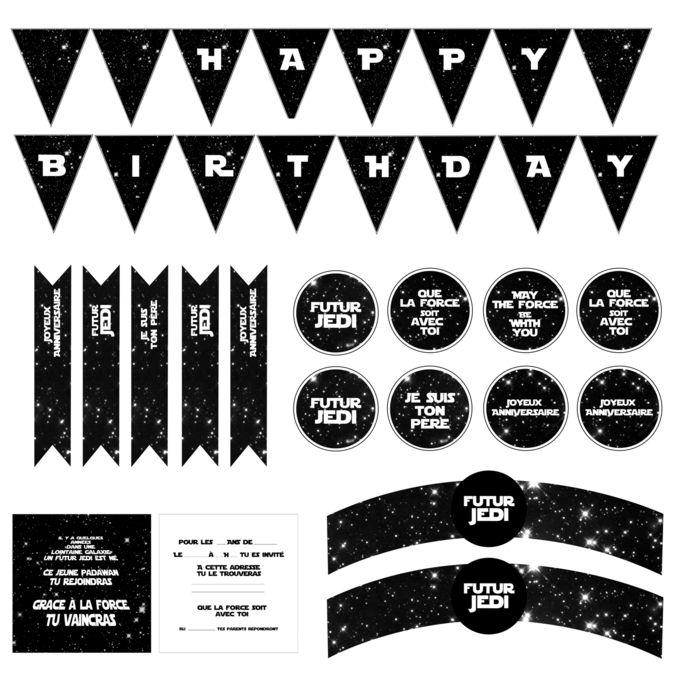 Très Anniversaire Star Wars carte invitation et deco à imprimer gratuit  KU75