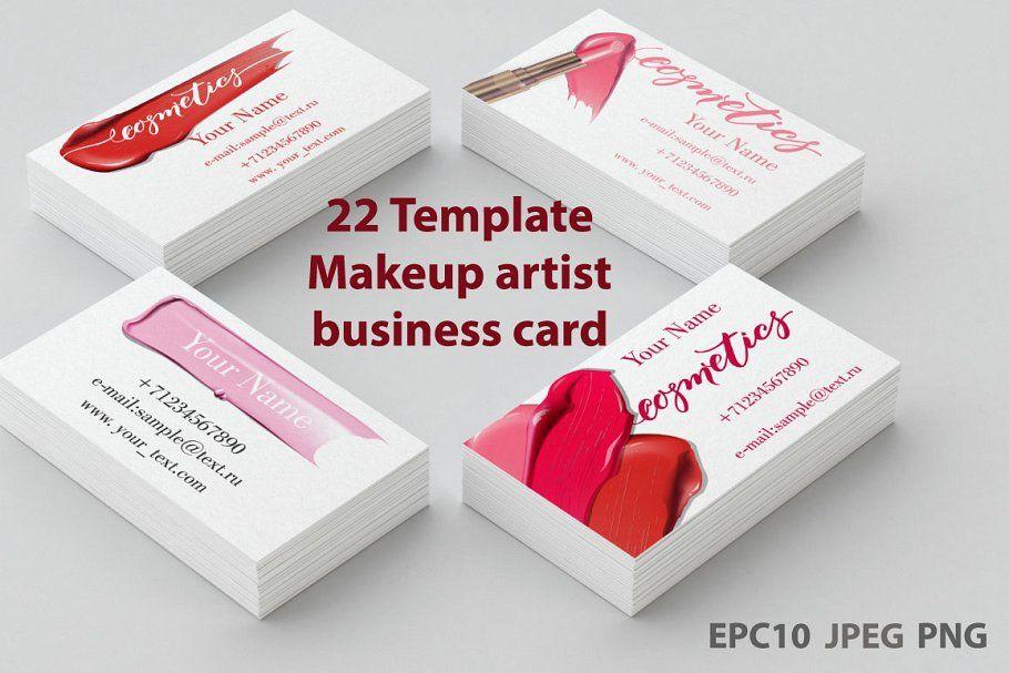 Set Of Makeup Artist Business Card Makeup Business Cards Business Card Template Design Artist Business Cards