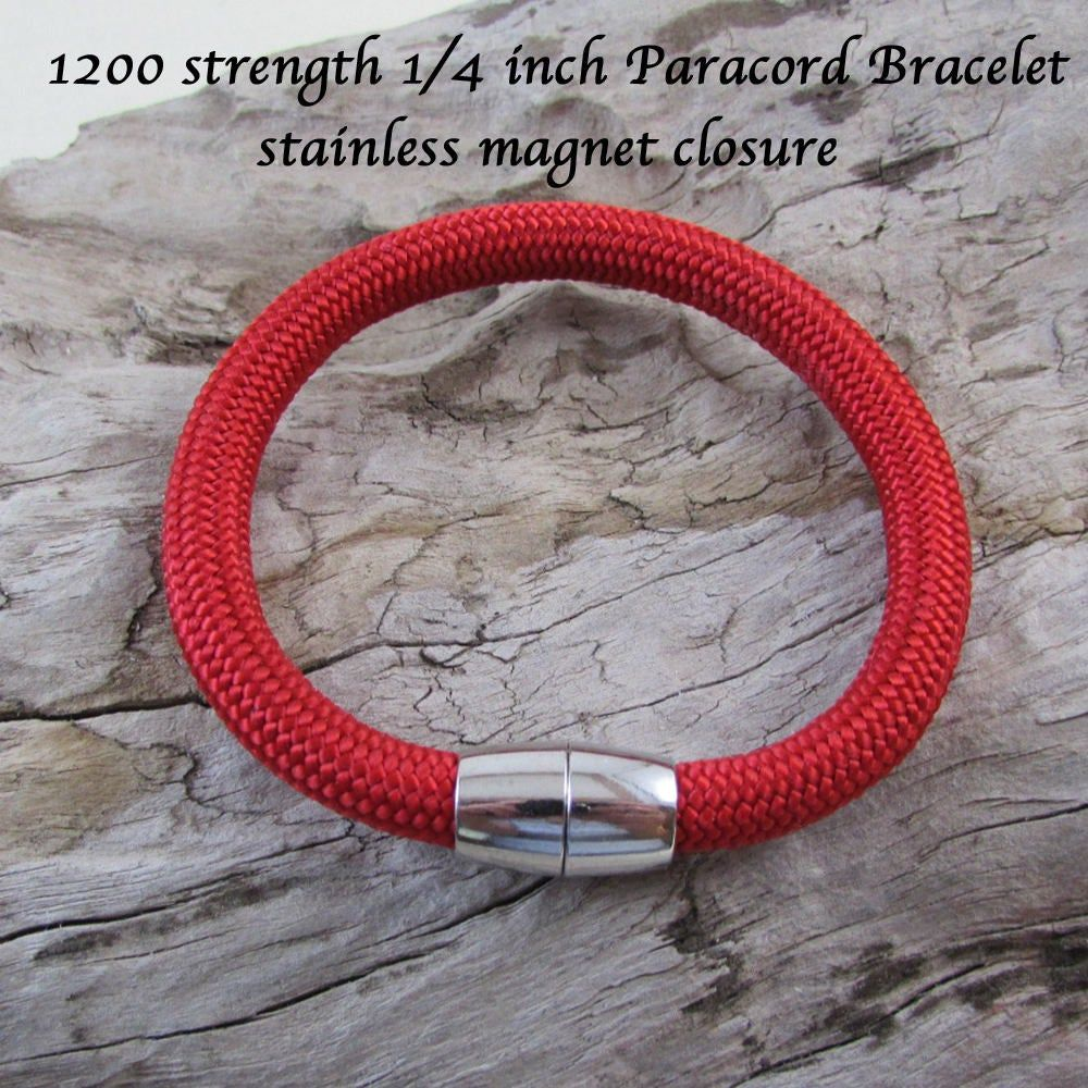 Red Paracord Rope Bracelet 1200 Lb Strength Paracord Jewelry Stainless Magnet Closure Unisex Jewelry Great Gift Idea 6mm Rope Paracord Bracelets Purses For Sale