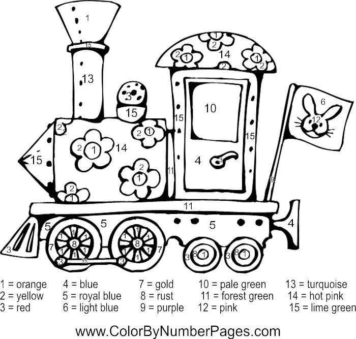 Train Color By Number Baby Coloring Pages Coloring Pages Fall Coloring Pages