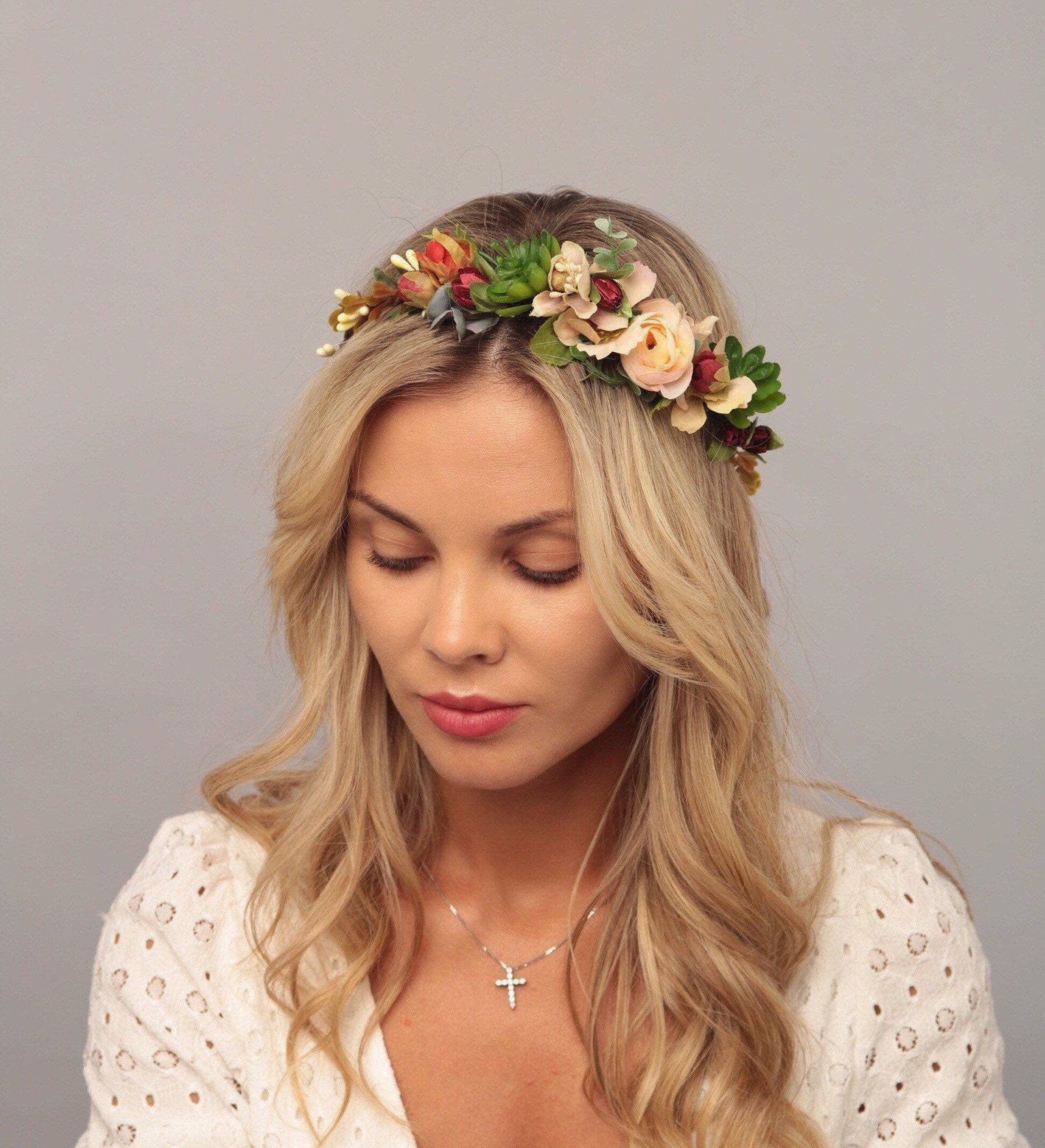 Burgundy blush flower crown wedding floral crown flower