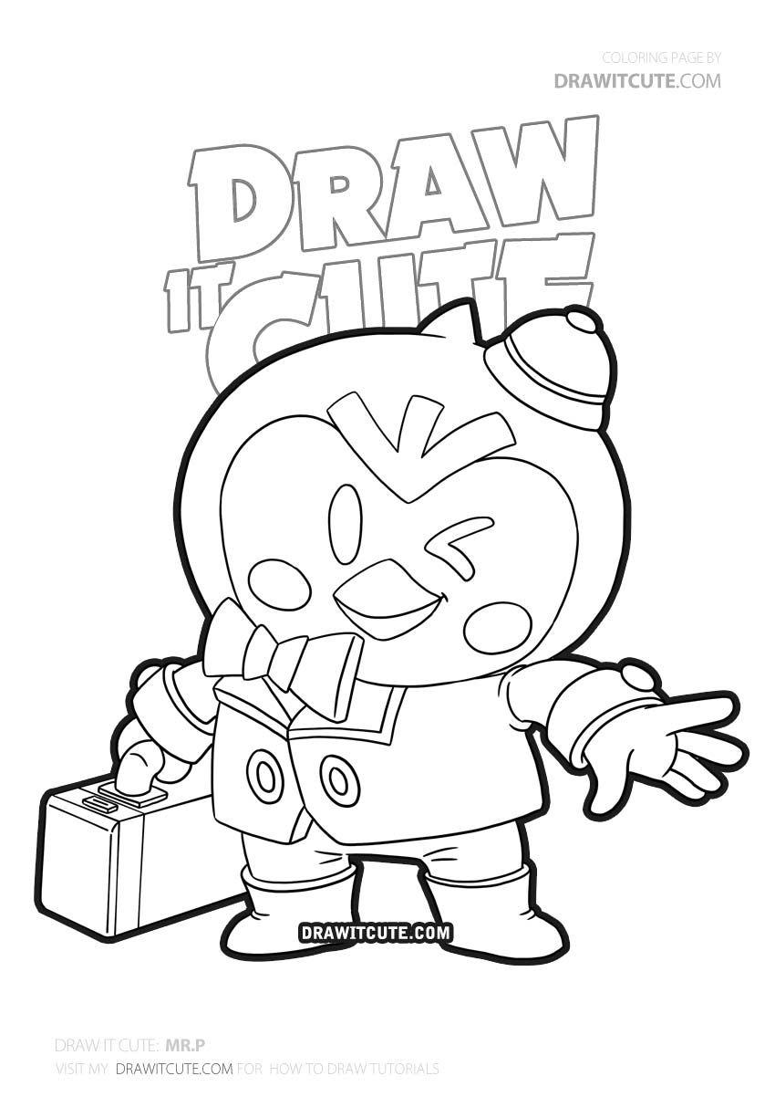 How To Draw Mr P Brawl Stars Draw It Cute Boyama Kitaplari Boyama Sayfalari Cizim Fikirleri