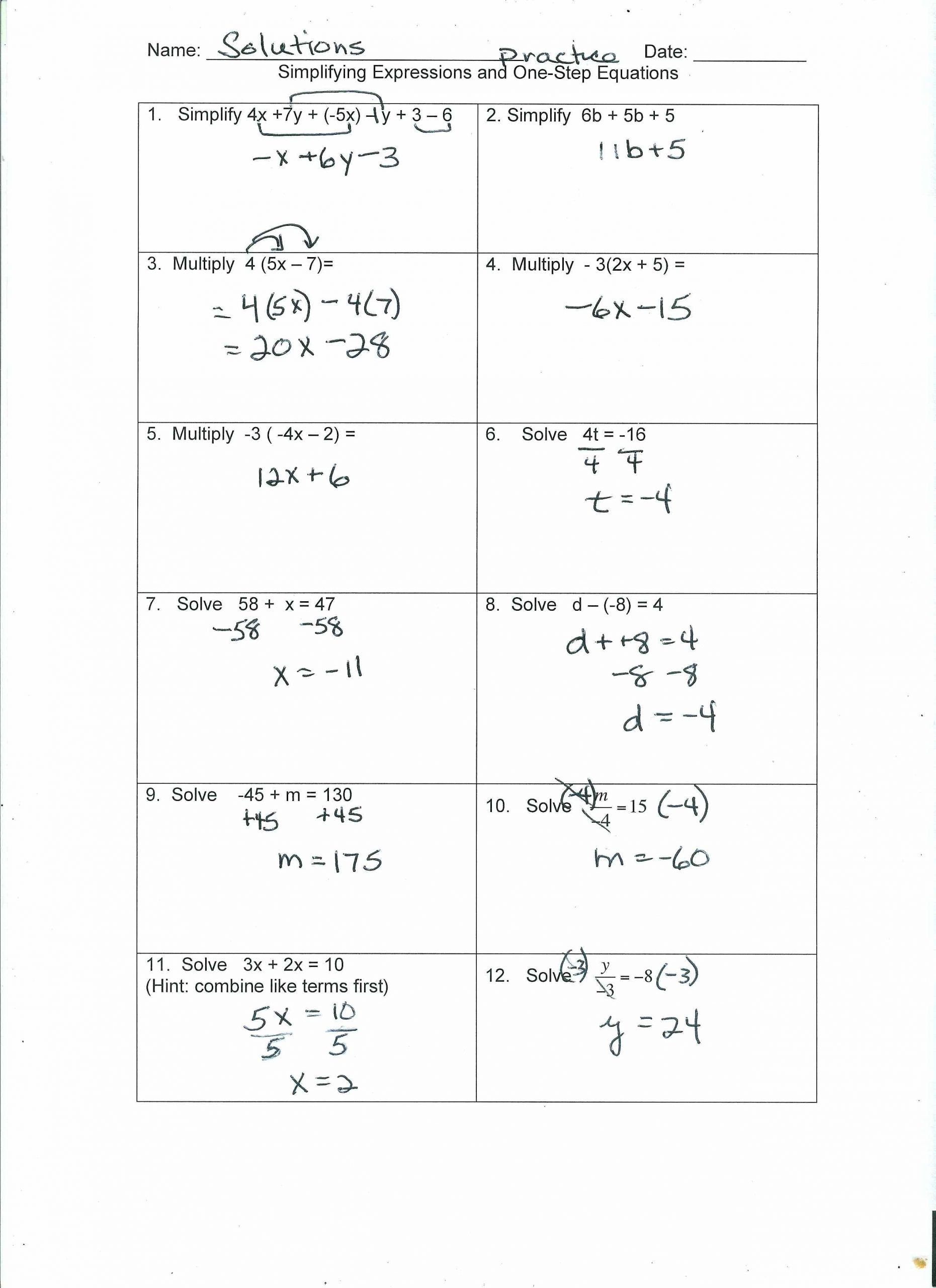 Literal Equations Worksheet Algebra 1 In