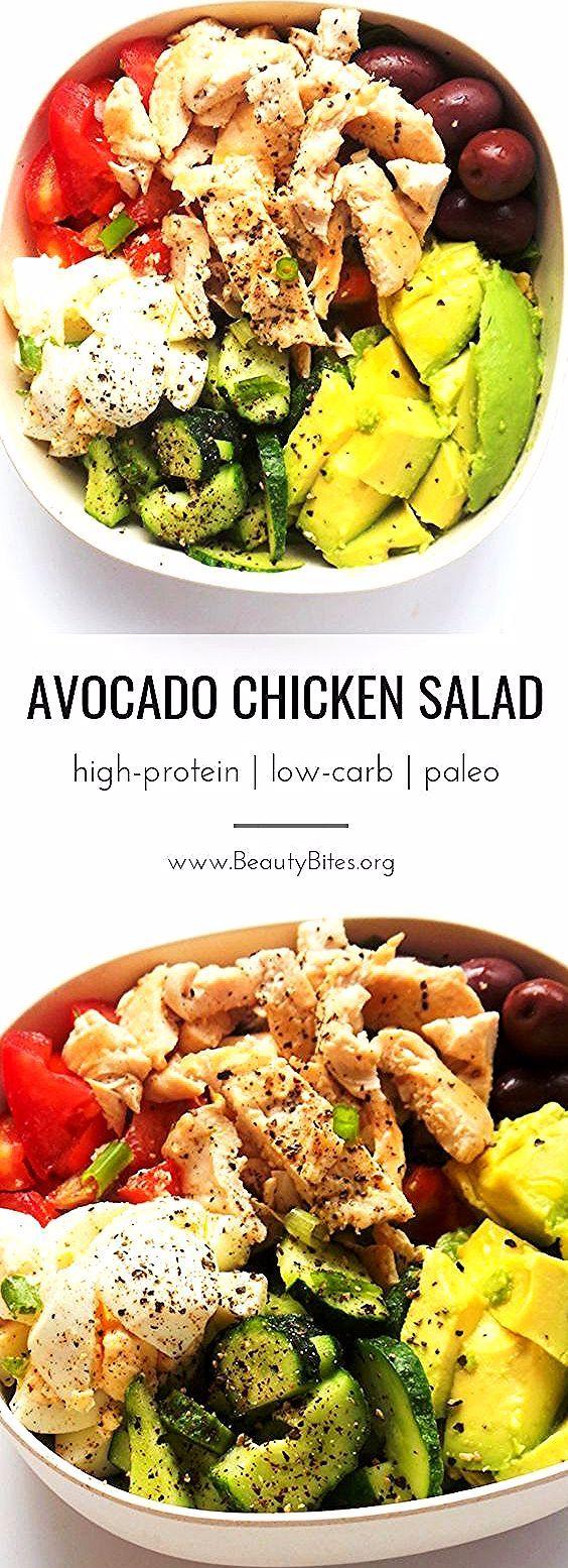 Avocado Hühnersalat   Mahlzeitzubereitung + Low Carb - Beauty Bites - -