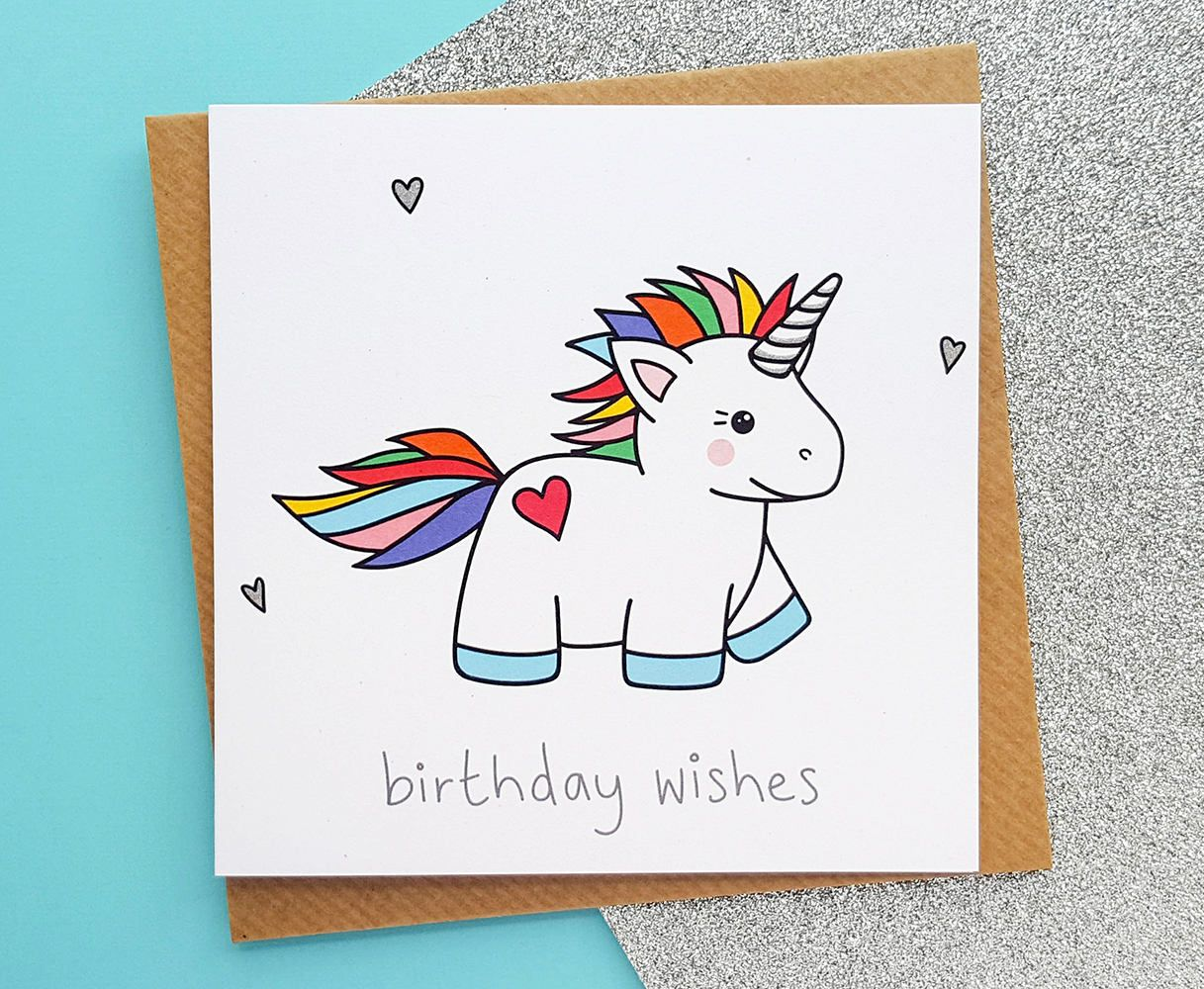 Kawaii Unicorn Rainbow Card Birthday Cute Gifts Magical