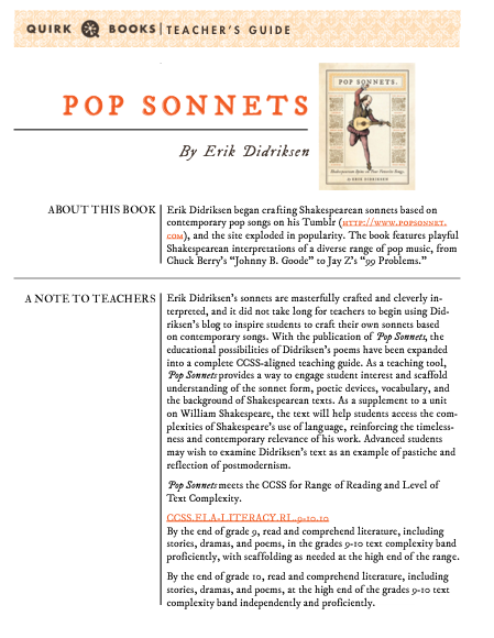 Pop Sonnets Curriculum Guide Poetry Shakespeare Education