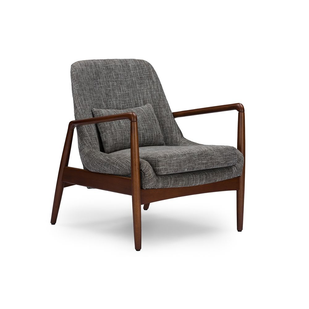 Baxton Studio Carter Mid Century Modern Retro Grey Fabric Upholstered  Leisure Accent Chair In Walnut Wood Frame