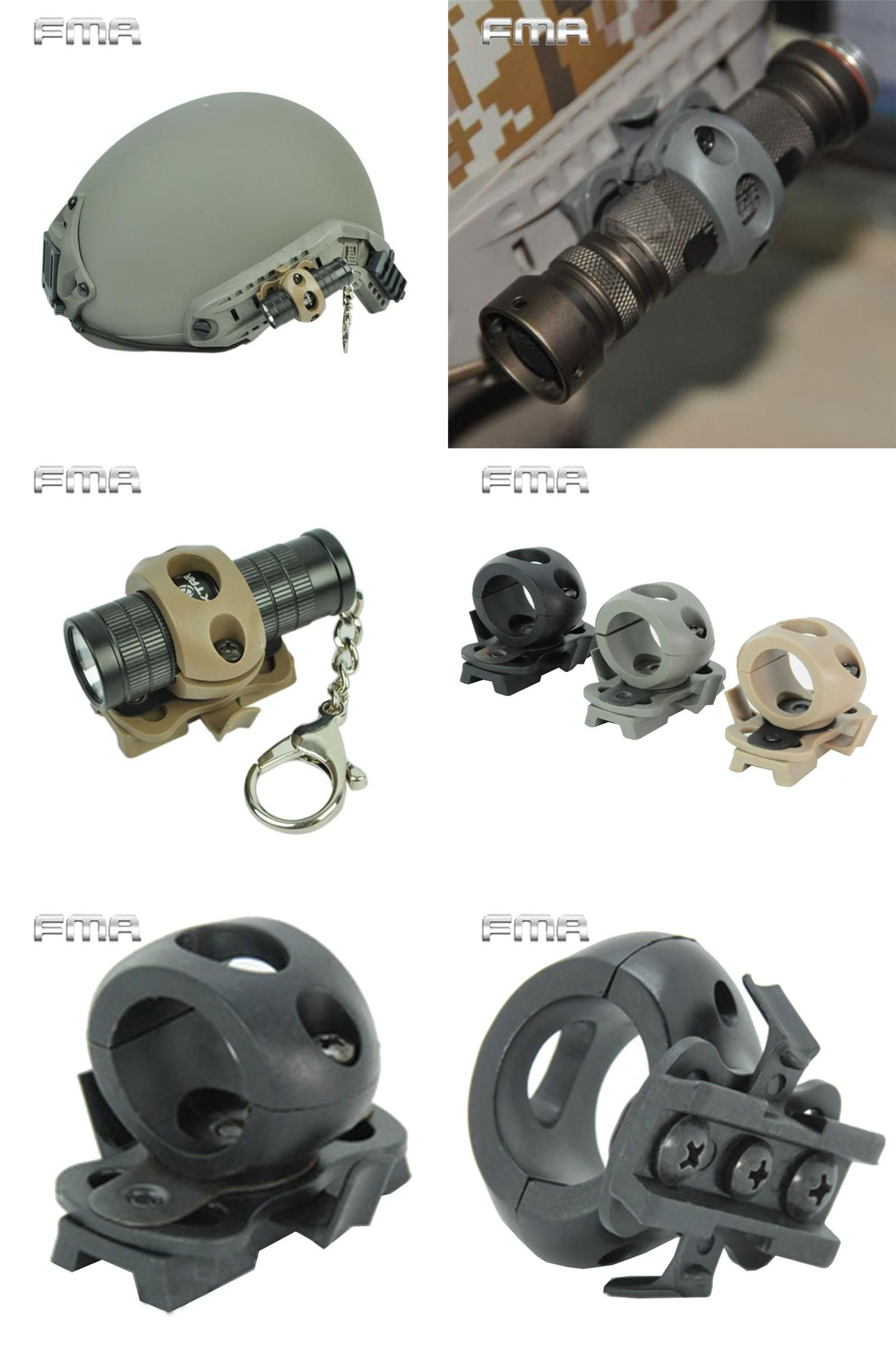 Tactical Helmet Flashlight Mount Clip Military Airsoft Light Clamp AdaptorES