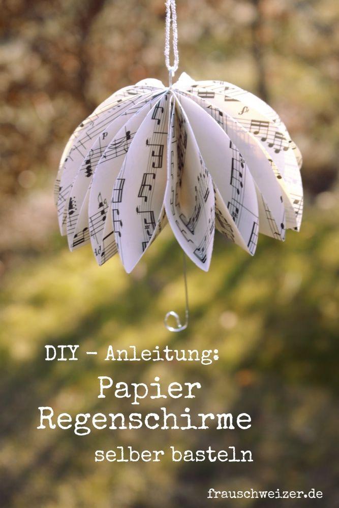 DIY Anleitung: Papier Regenschirme selberbasteln #herbstdekofensterkinder
