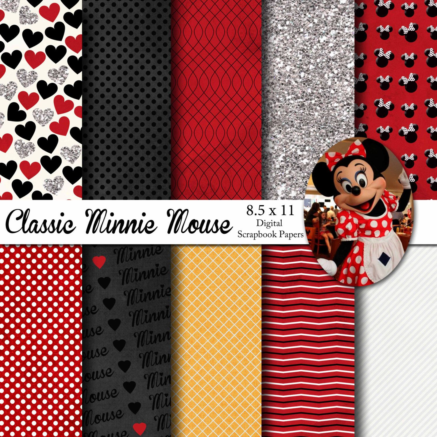 Disney Classic Minnie Mouse Inspired 8.5x11 A4 Digital Paper Pack ...
