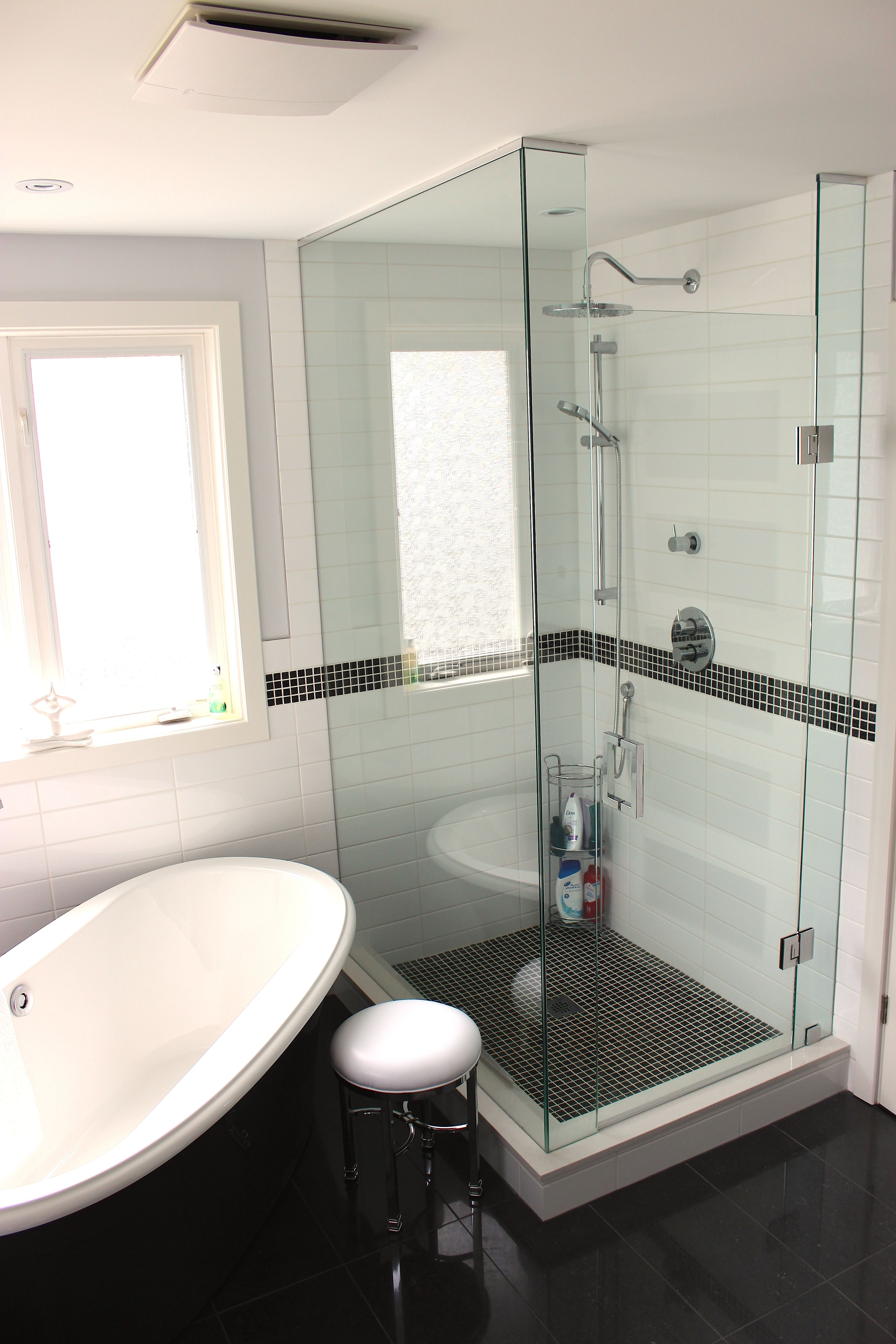 Freestanding Tub Side By Side with A Custom Stand Alone Shower