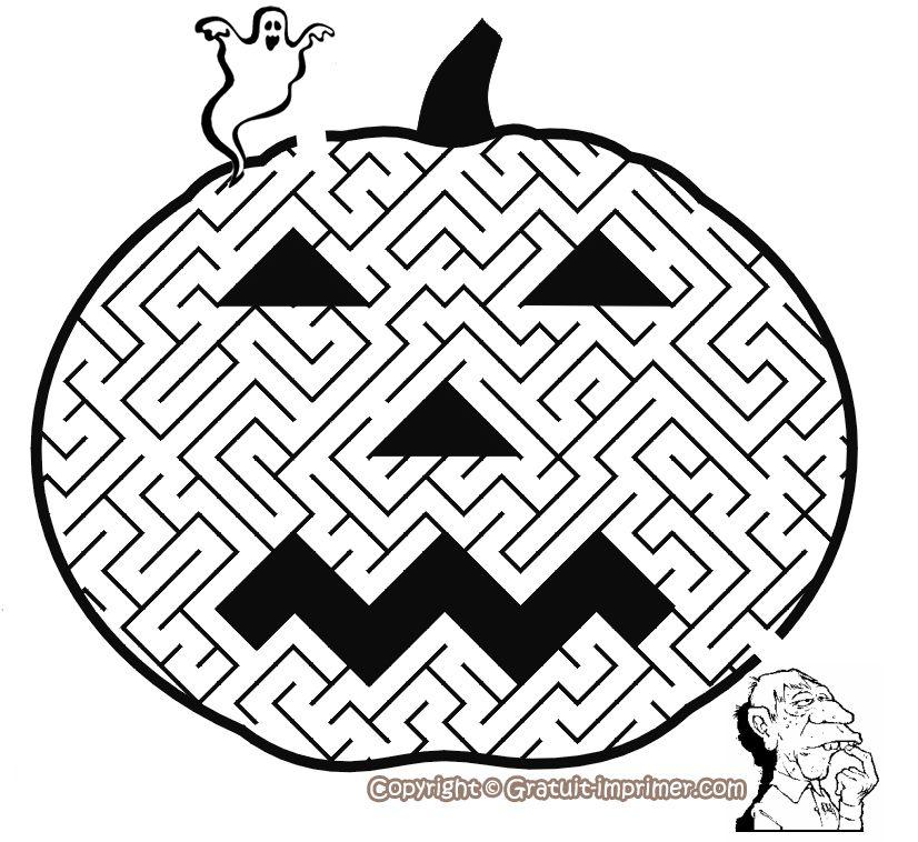 Jeu pour enfant halloween gratuit a imprimer jeu labyrinthe citrouille halloween pinterest - Jeu labyrinthe a imprimer ...