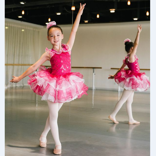 ddfd999f78a0 Sparking Dance Costume Girls Rose Red Sequin Leotard Dress with T ...