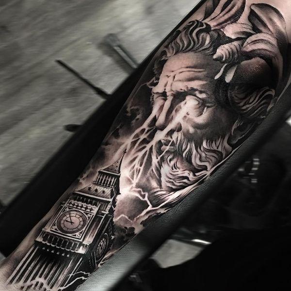 Zeus Greek God Sleeve Tattoo Idea Mythology Tattoos Greek Tattoos Greek Mythology Tattoos