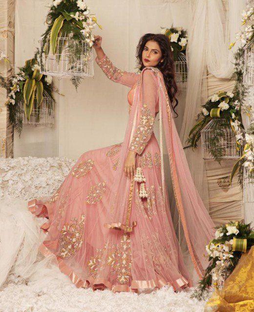 gllamorous peach bridal dress