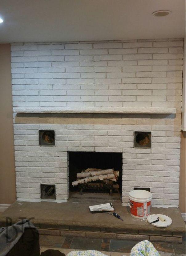 DIY Quick Brick Fireplace Makeover Idea