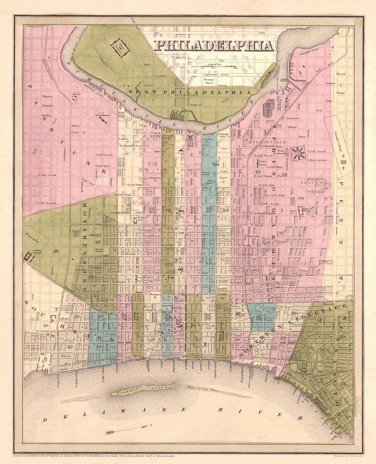 Philadelphia. T.G. Bradford. 1838. Map showing districts separately ...