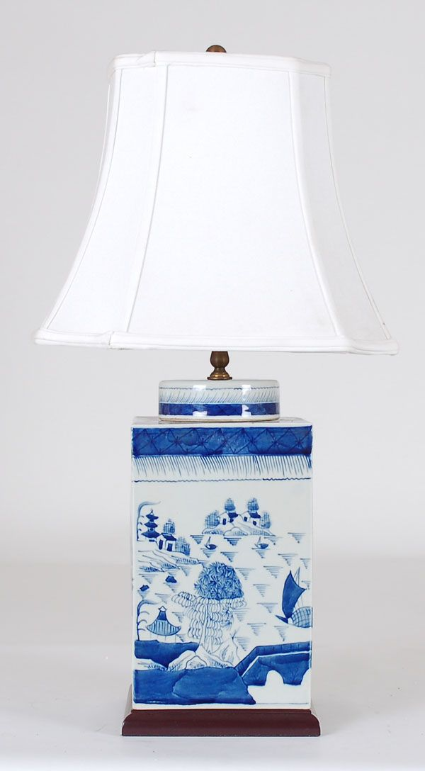 Awesome Large Chinese Pocelain Blue And White Canton Square Tea Caddy Lamp