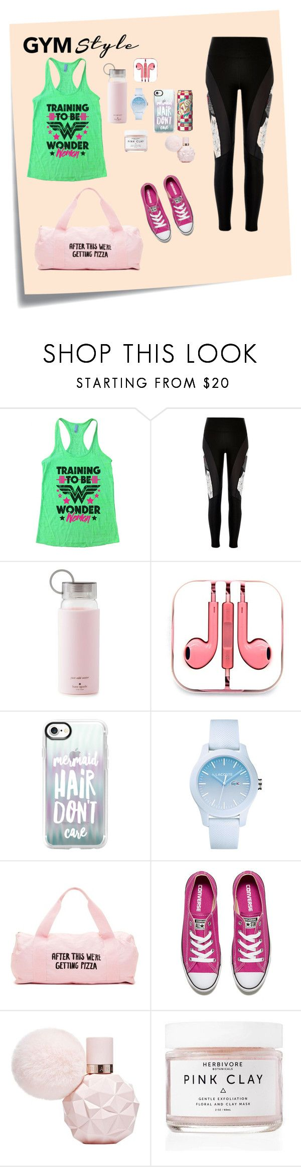 """Gym style"" by pinkash-1 ❤ liked on Polyvore featuring Post-It, River Island, Kate Spade, PhunkeeTree, Casetify, Lacoste, ban.do, Converse and Herbivore"