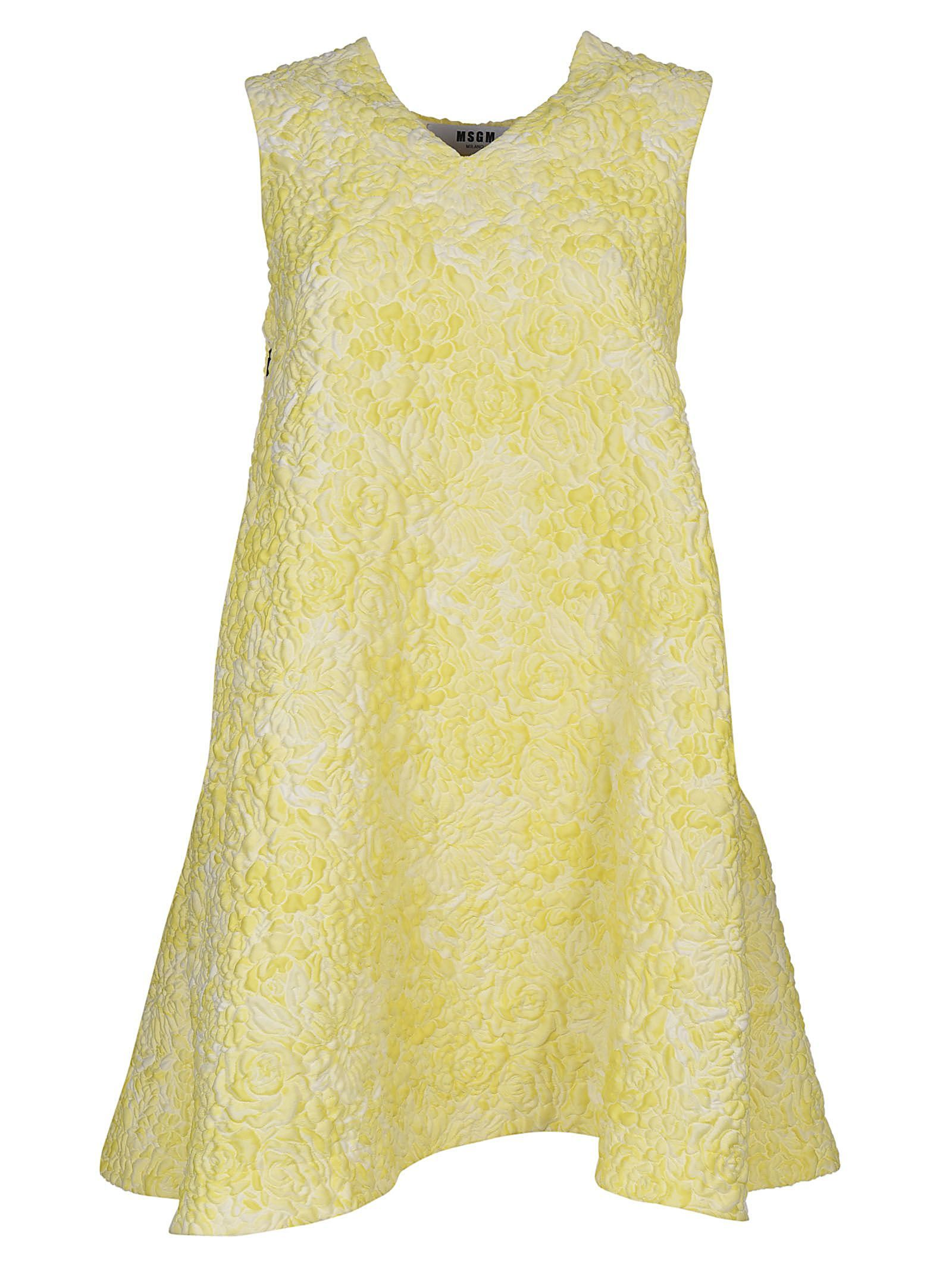 Dress for Women, Evening Cocktail Party On Sale, Yellow, Cotton, 2017, 10 Msgm