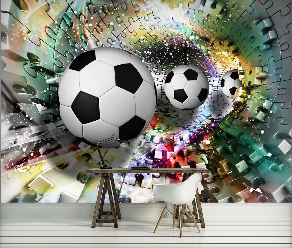 details zu tapete fototapete tapeten wand ziegel fussball ball kunst 3d 13n3383p4 w nde. Black Bedroom Furniture Sets. Home Design Ideas