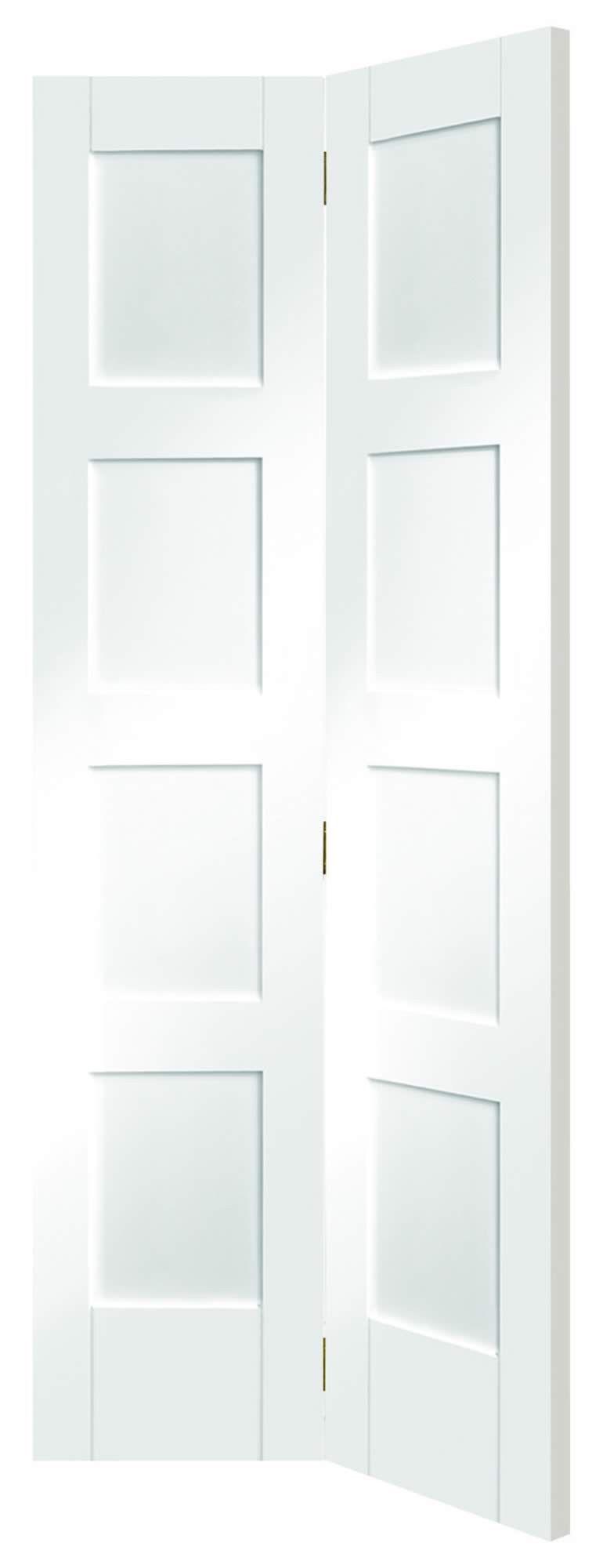 Shaker 4 Panel White Pre Primed Clear Glazed Bi Fold Internal Doors Extension Kitchen