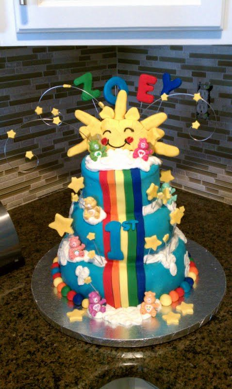 Care Bear Cake - 1st Birthday party Care Bear Cake, thank you for all the inspiration on CC!