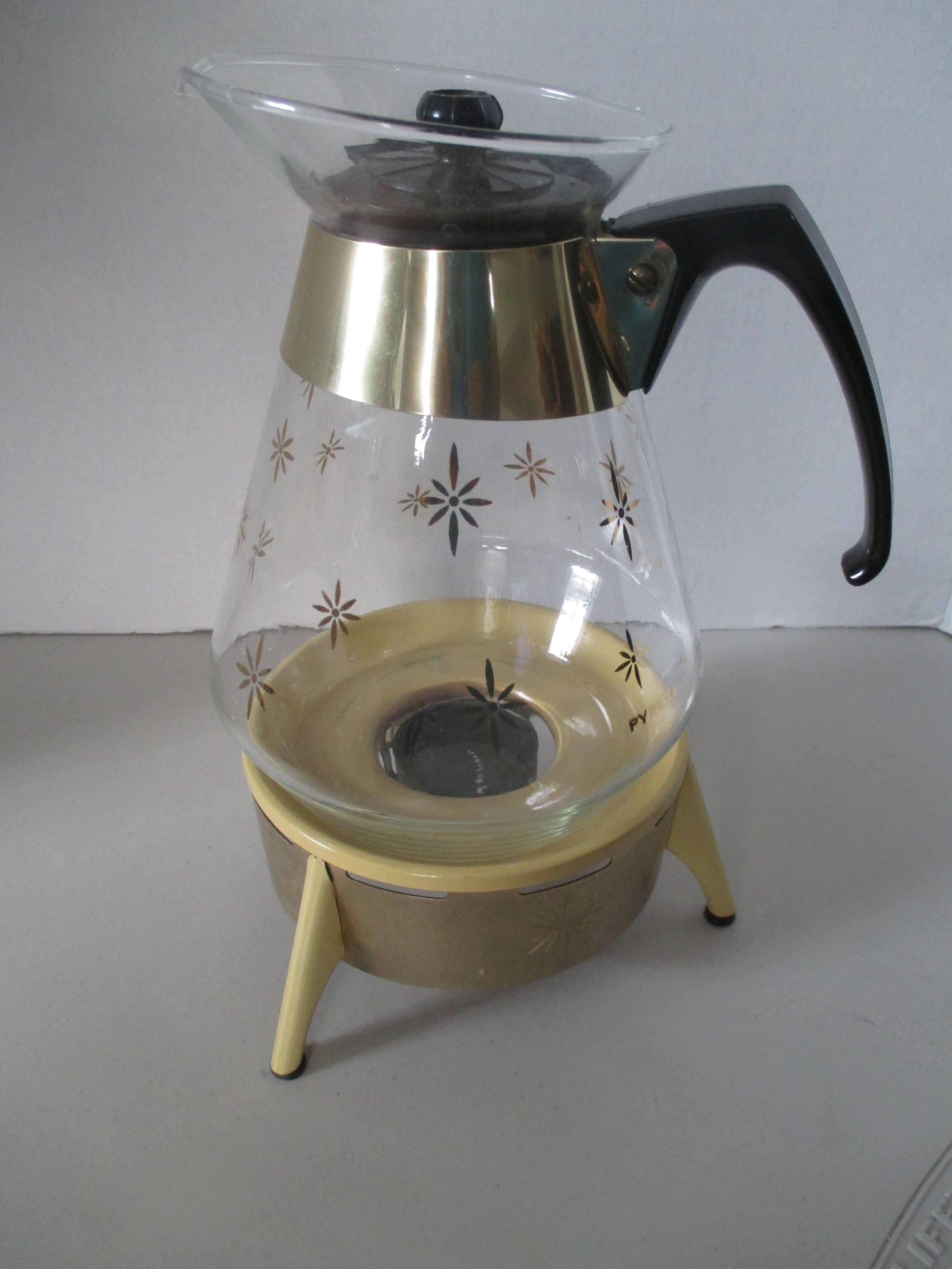 Vintage retro gold starburst pyrex cup glass carafe pot with