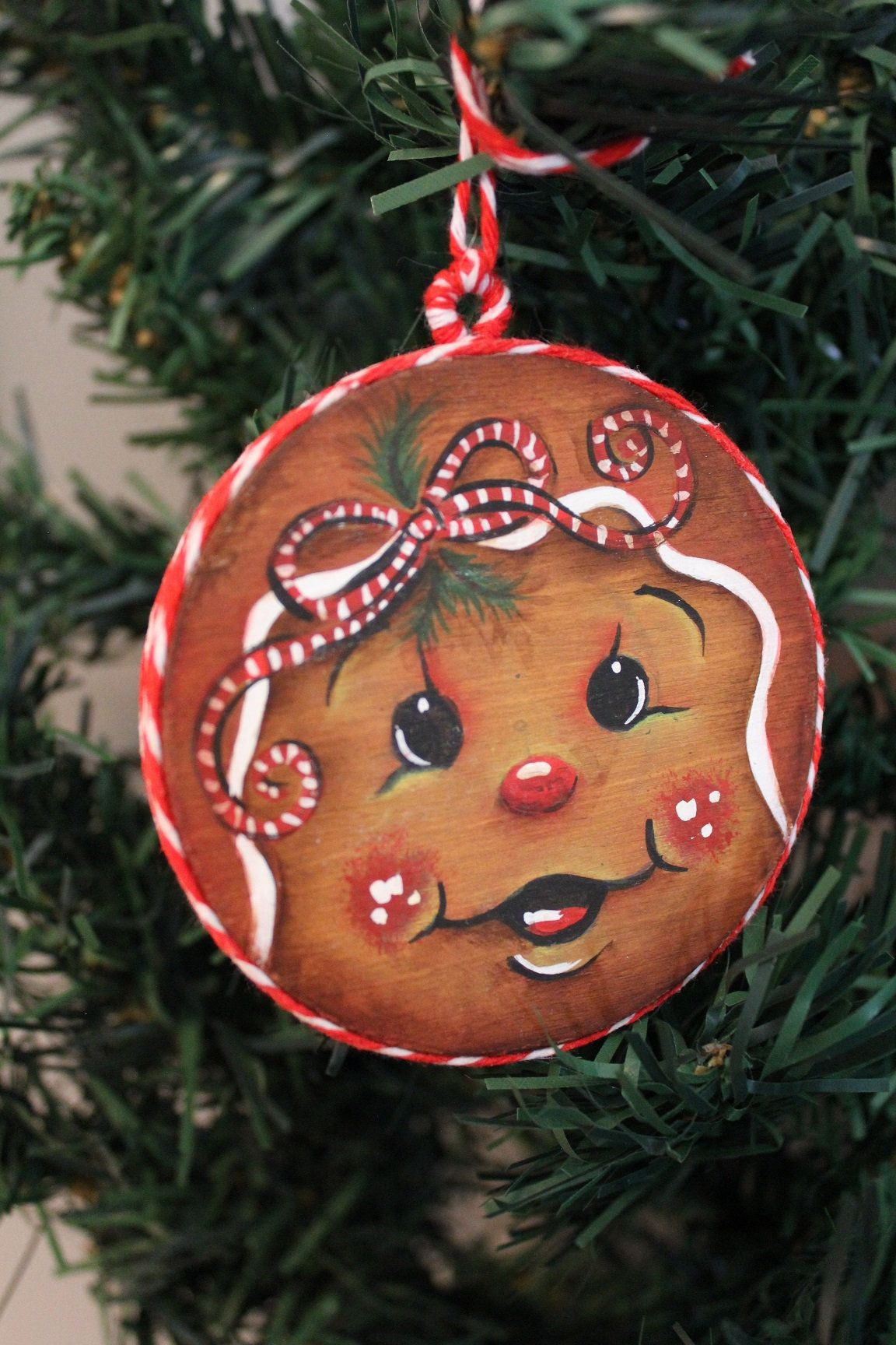 Hand Painted Wood Disc Christmas Ornament Etsy Christmas Ornaments Hand Painted Wood Xmas Ornaments