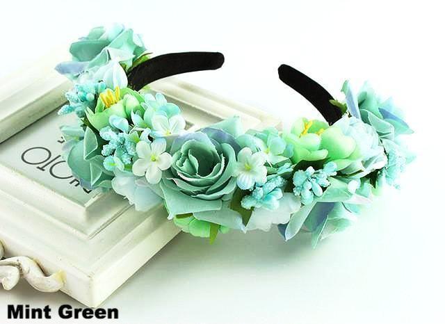 Women's Floral Bridal Festival Hair Crown Headbands