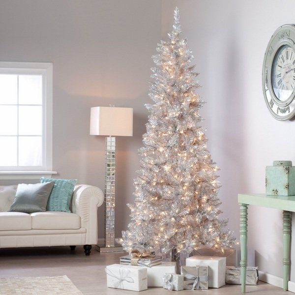 White Pencil Christmas Tree Decoration Ideas Pre Lit Silver