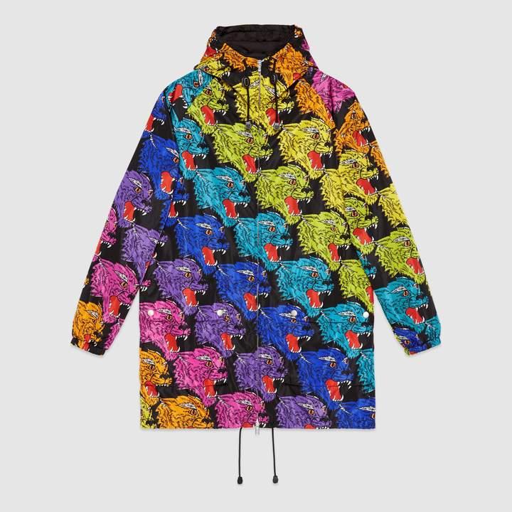 916c8aafe Gucci Panther face nylon jacket | Products | Fringe leather jacket ...