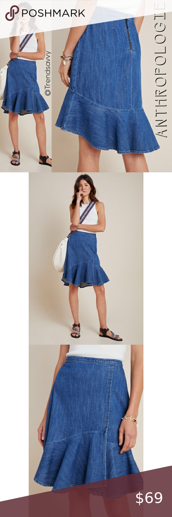 NWT ANTHROPOLOGIE PILCRO FLOUNCED DENIM MINI SKIRT NWT ANTHROPOLOGIE PILCRO FLOUNCED DENIM MINI SKIRT SIZE 8  BRAND NEW WITH TAGS  Rendered in our signature denim, this flounced mini skirt puts an elevated twist on laidback styling - pair it with a sleek cami or graphic tee for a polished, ready-for-anything ensemble.  99% cotton 1% lycra Mini silhouette Flounced hem Back zip Machine wash 22