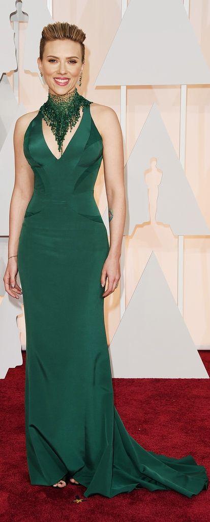 Scarlett Johansson in Versace at the Oscars.