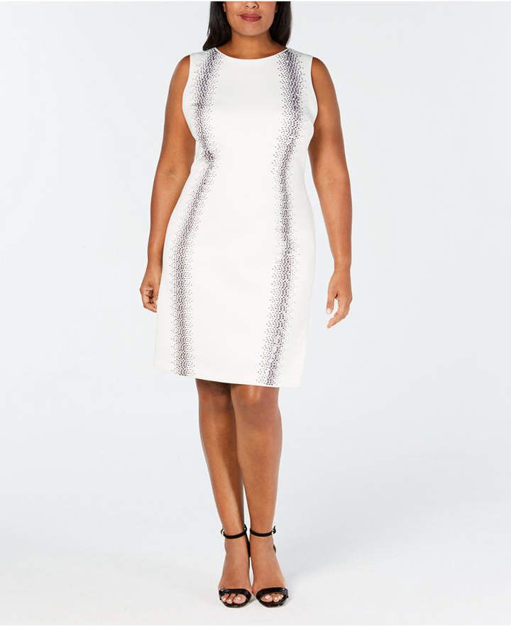 1d8a112b73a9 Calvin Klein Plus Size Embellished Sheath Dress - White 18W in 2019 ...
